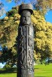 Maori- Schnitzen am Standort des Kampfes Tor-PAs, Tauranga, Neuseeland lizenzfreie stockfotografie