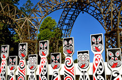 Maori sculptures in Rotorua New Zealand royalty free stock image