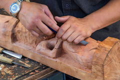Maori statue carving in progress Royalty Free Stock Photo