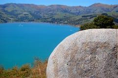 Maori stone inscription Stock Photos