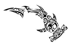 Maori style hammer shark tattoo. Hammer shark tattoo in Maori tribal style Stock Images