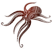 Maori style octopus tattoo. Octopus tattoo ornamented with Maori style elements Royalty Free Stock Image