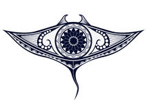 Maori style tattoo pattern in shape of manta ray. Fit for shoulders and upper back. Vector ornament Royalty Free Stock Photo