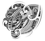 Maori style tribal tattoo shape. Maori ethnic style ornament. Good for sleeve and chest tattoo Stock Photo