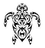 Maori style turtle shape. Turtle tattoo in Maori ethnic style isolated on white Stock Images