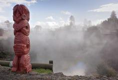 Maori totem in Rotorua, New Zealand Stock Images