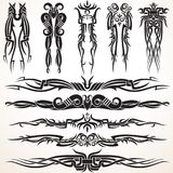 Maori Tribal Tattoo Design Elements. Set of different vector tribal ornaments in polynesian style Stock Image