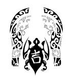 Maori tribal turtle with sign of success - Tattoo Royalty Free Stock Image
