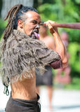 Maori tribes traditional greeting show. New Zealand. Stock Photo