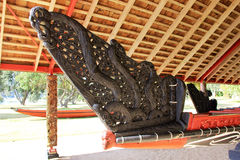 Maori War Canoe Made Of Kauri Wood stock photo