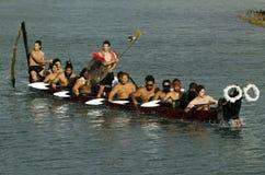 Maori War Waka Canoe Fotografia Stock