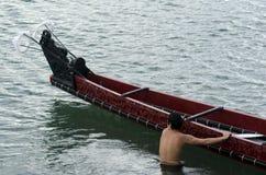 Maori War Waka Canoe Royaltyfri Foto