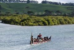Maori War Waka Canoe Royaltyfria Foton