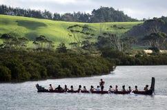Maori War Waka Canoe Royaltyfri Bild