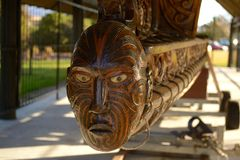 Maori Warrior carving. In Rotorua, New Zealand royalty free stock photo