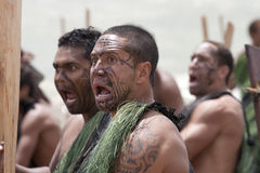 Maori warrior looking scary at a Haka Stock Photo