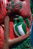 Maori wood carving details Royalty Free Stock Images