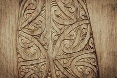 Maori Wood Carving imponente de Nueva Zelanda fotografía de archivo libre de regalías