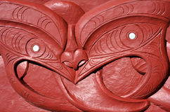Maori wood carvings artwork Stock Photography
