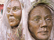Maori Wood Sculpture Imagem de Stock Royalty Free