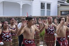 Maori Youths Perform Haka ICC CWC 2015. AUCKLAND-Mar.24: Maori youths perform haka war cry dance outside the ICC Cricket World Cup 2015 in Eden Park Rugby stock photos