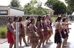 Maori Youths Perform Haka ICC CWC 2015. AUCKLAND-Mar.24: Maori youths perform haka war cry dance outside the ICC Cricket World Cup 2015 in Eden Park Rugby royalty free stock photography