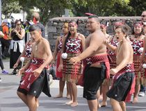 Maori Youths Perform Haka ICC CWC 2015. AUCKLAND-Mar.24: Maori youths perform haka war cry dance outside the ICC Cricket World Cup 2015 in Eden Park Rugby royalty free stock photo