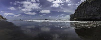 Maorifjärdmuriwai nära sand för svart för dagsutflykt för havssulakolonistrand arkivfoton