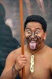 Maoryjski mężczyzna w tradycyjnym powitaniu Zdjęcie Stock