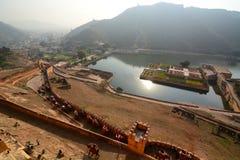 Maota Jeziorny widok od Amer pałac lub Amer fortu () jaipur Rajasthan indu Zdjęcie Stock