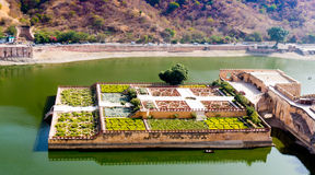 Maota lake and garden from amer fort jaipur Royalty Free Stock Photos