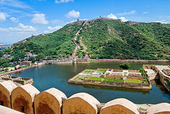 Maota Lake and Gardens of Amber Fort in Jaipur, India Royalty Free Stock Photo