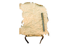 Map. The burnt scroll is Isolated on a white background Stock Images