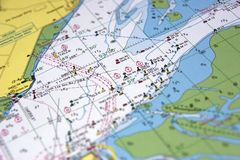 Map. A close view on the sea nearby texel, holland Stock Photography