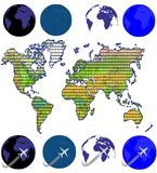 Map. An unfolded map of the world and flying airplane vector illustration