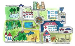 Map. Hand illustrated cartoon map of a town Royalty Free Stock Image