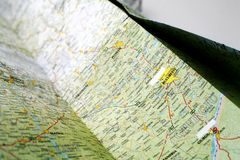 Map. Photograph of an unfolded road map Royalty Free Stock Photography