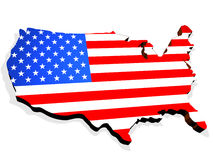 Map. The USA. 3d object Royalty Free Stock Photography