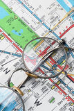 Map. Pair of rimmed glasses over NYC subway map Stock Photography