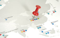 Map. Photo of a Map with a Thumbtack By China - Business Related Royalty Free Stock Photo