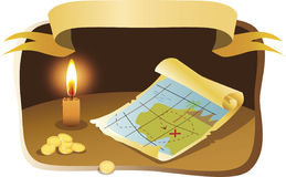Map. The map, burning candle and coins Stock Photography
