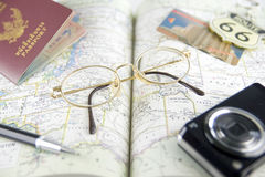 Map. For travel with passport, pen, eyeglasses and camera Royalty Free Stock Photo