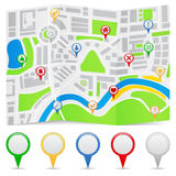 Map. Abstract map on a folded paper and map markers Royalty Free Stock Images