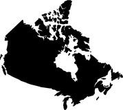 Map. Canada silhouette Royalty Free Stock Photography