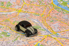 The map. Small car on the map of Kiev Stock Images