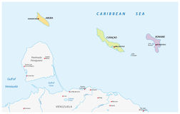 Map of the ABC islands in the Caribbean sea Royalty Free Stock Images