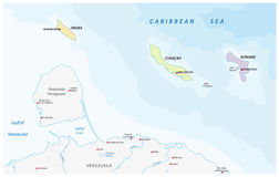 Map of the ABC islands in the Caribbean sea Stock Image