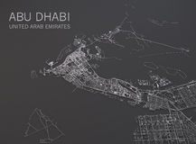 Map of Abu Dhabi, satellite view, map in negative, United Arab Emirates Stock Photography
