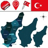 Map of Adana, Turkey with Districts. Vector map of Adana, Turkey with named districts and travel icons royalty free illustration