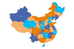 Map of administrative provinces of China. Vector illustration Royalty Free Stock Photo